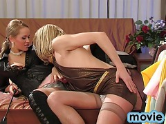 Spoilt girl bangs a submissive sissy