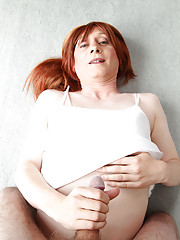 Sexy Lucimay is dressed all in white and she is sucking some very hard cock