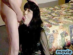 Slutty Yvette on her knees like a whore taking a cock deep in her mouth