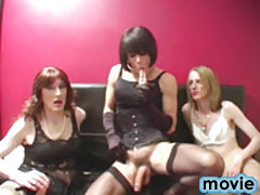 Hardcore penetration with this hot 3 way TGirl movie